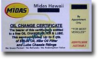 Five Midas Oil Change Plus Certificates