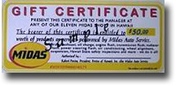 Midas Auto Repair and Service Value Certificates