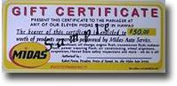 Midas Auto Repair and Service Value Certificates