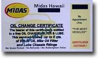 Midas Oil Change Certificate